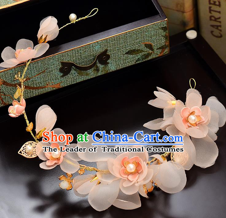 Top Grade Handmade Chinese Classical Hair Accessories Baroque Style Wedding Pink Flowers Hair Clasp Headband Bride Headwear for Women