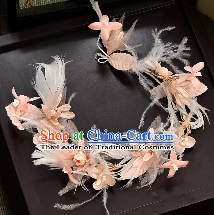 Top Grade Handmade Chinese Classical Hair Accessories Baroque Style Wedding Pink Feather Hair Clasp Headband Bride Headwear for Women