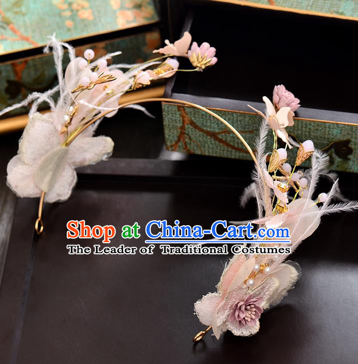 Top Grade Handmade Chinese Classical Hair Accessories Baroque Style Wedding Pink Feather Opal Garland Hair Clasp Headband Bride Headwear for Women
