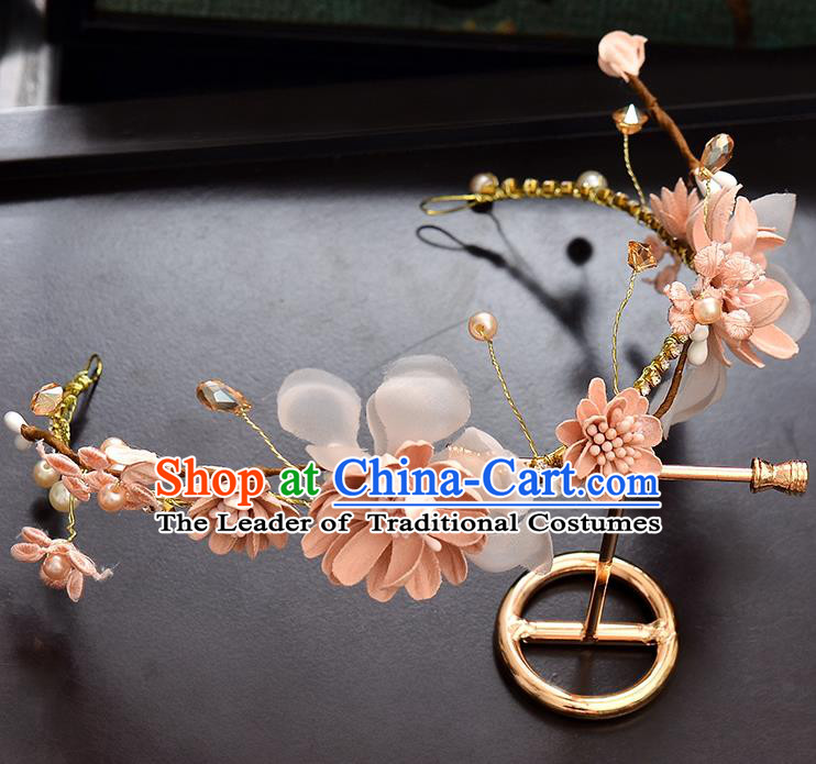 Top Grade Handmade Chinese Classical Hair Accessories Baroque Style Wedding Pink Flowers Pearls Garland Hair Clasp Headband Bride Headwear for Women