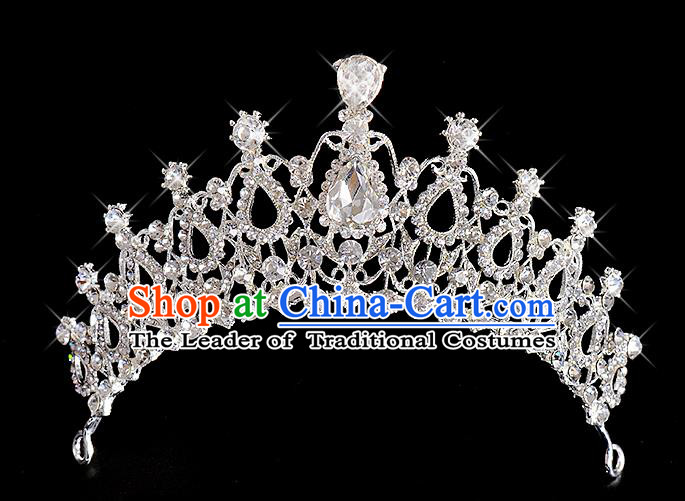 Top Grade Handmade Chinese Classical Hair Accessories Baroque Style Wedding Queen Crystal Royal Crown, Bride Hair Kether Jewellery Hair Clasp for Women