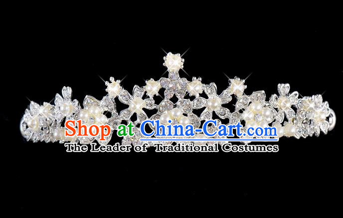 Top Grade Handmade Chinese Classical Hair Accessories Baroque Style Wedding Queen Crystal Pearls Royal Crown, Bride Hair Kether Jewellery Hair Clasp for Women