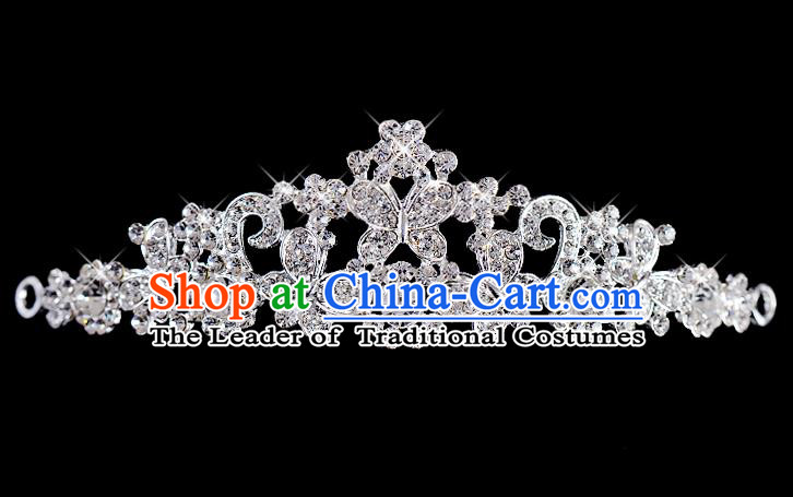 Top Grade Handmade Chinese Classical Hair Accessories Baroque Style Wedding Crystal Butterfly Royal Crown, Bride Princess Hair Kether Jewellery Hair Clasp for Women