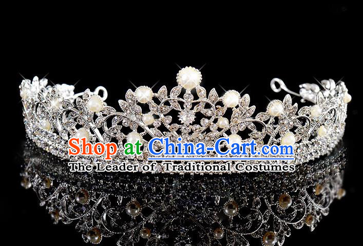 Top Grade Handmade Chinese Classical Hair Accessories Baroque Style Wedding Crystal Pearls Royal Crown, Bride Princess Hair Kether Jewellery Hair Clasp for Women