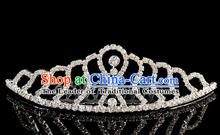 Top Grade Handmade Chinese Classical Hair Accessories Baroque Style Wedding Crystal Royal Crown, Bride Princess Hair Kether Jewellery Hair Clasp for Women