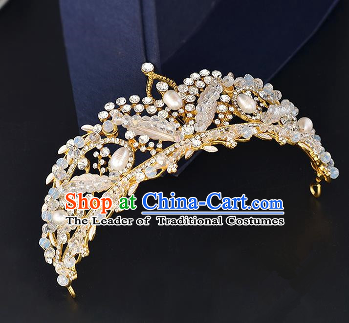 Top Grade Handmade Hair Accessories Baroque Style Wedding Crystal Pink Pearls Royal Crown, Bride Princess Hair Kether Jewellery Hair Clasp for Women