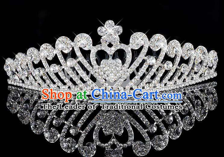 Top Grade Handmade Hair Accessories Baroque Style Wedding Crystal Heart-shaped Royal Crown, Bride Princess Hair Kether Jewellery Hair Clasp for Women