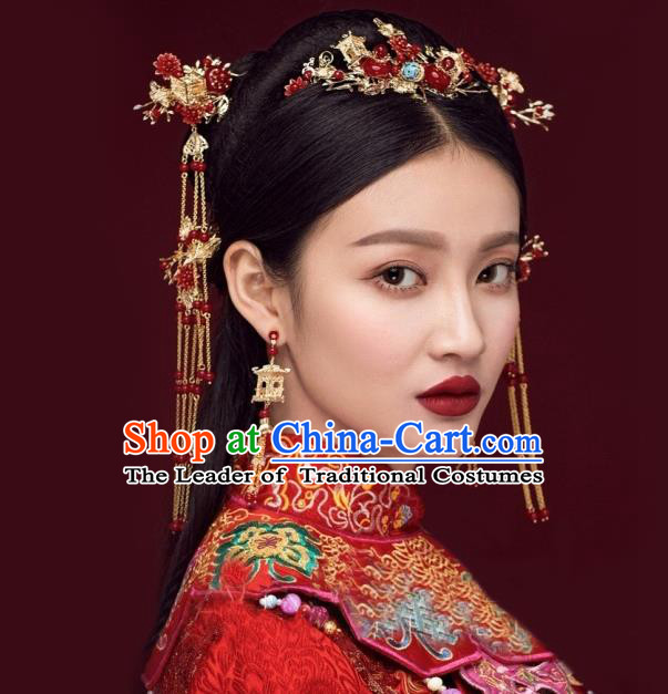 Traditional Handmade Chinese Ancient Wedding Hair Accessories Xiuhe Suit Tassel Step Shake Red Frontlet Complete Set, Bride Hanfu Hair Sticks Hair Jewellery for Women