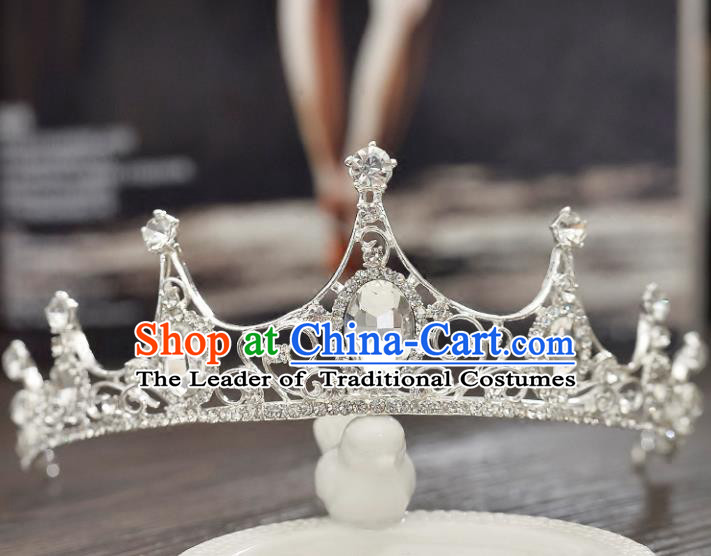 Top Grade Handmade Chinese Classical Hair Accessories Baroque Style CZ Diamond Wedding Princess Royal Crown, Bride Hair Jewellery Hair Clasp for Women