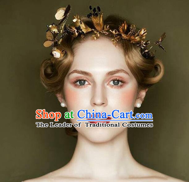 Top Grade Handmade Chinese Classical Hair Accessories Baroque Style Wedding Dragonfly Golden Hair Stick Headband Bride Hair Clasp for Women