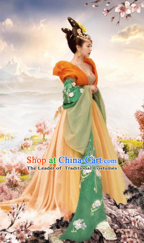Traditional Chinese Tang Dynasty Imperial Princess Embroidery Costume and Headpiece Complete Set, Once Upon a Time Chinese Ancient Palace Lady Hanfu Dress for Women