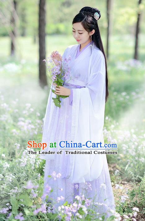 Traditional Ancient Chinese Costume Jin Dynasty Young Lady Embroidery Wide Sleeve Dress, Elegant Hanfu Clothing Chinese Palace Princess Costume for Women