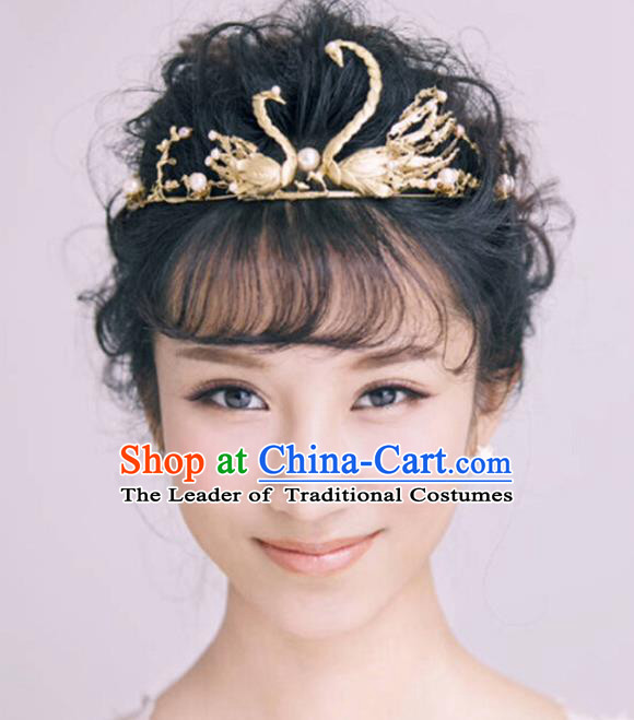 Top Grade Handmade Hair Accessories Baroque Style Wedding Crystal Golden Swan Royal Crown, Bride Princess Hair Kether Jewellery Imperial Crown for Women