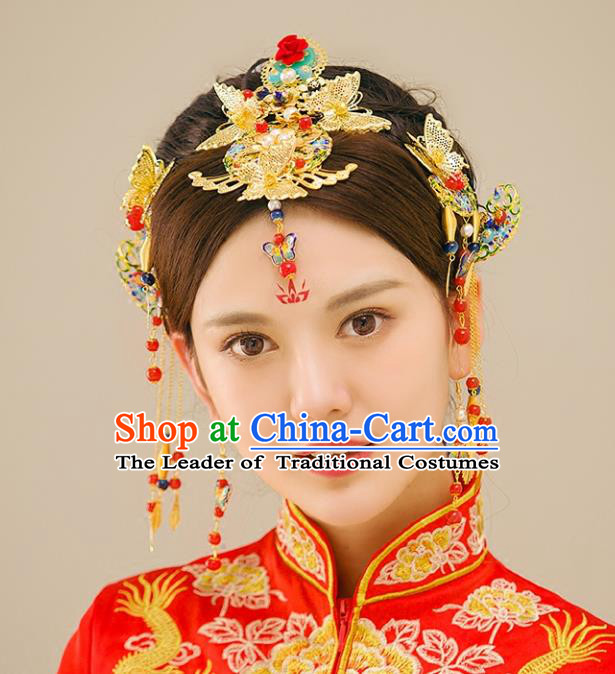 Traditional Handmade Chinese Ancient Wedding Hair Accessories Xiuhe Suit Blueing Phoenix Coronet Complete Set, Bride Tassel Step Shake Hanfu Hairpins Hair Sticks Hair Jewellery for Women