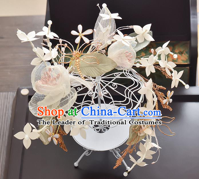 Top Grade Handmade Chinese Classical Hair Accessories Princess Wedding Pink Silk Flowers Hair Clasp Headband Bride Headwear for Women