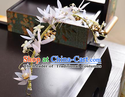 Top Grade Handmade Chinese Classical Hair Accessories Princess Wedding Pink Flowers Pearls Hair Clasp Headband Bride Headwear for Women