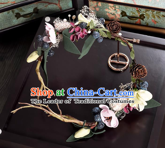 Top Grade Handmade Chinese Classical Hair Accessories Princess Wedding Flowers Hair Clasp Headband Bride Headwear for Women