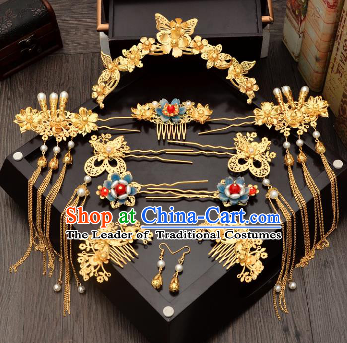 Traditional Handmade Chinese Ancient Wedding Hair Accessories Xiuhe Suit Pearls Phoenix Coronet Complete Set, Bride Tassel Step Shake Hanfu Hairpins Hair Sticks Hair Jewellery for Women