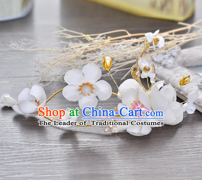 Top Grade Handmade Chinese Classical Hair Accessories Princess Wedding White Flowers Hair Clasp Headband Bride Headwear for Women