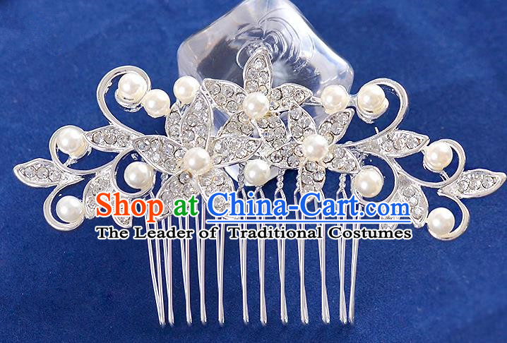 Top Grade Handmade Chinese Classical Hair Accessories Princess Wedding Crystal Pearl Hair Comb Hair Stick Headband Bride Headwear for Women
