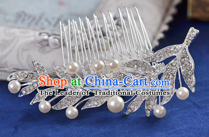 Top Grade Handmade Chinese Classical Hair Accessories Princess Wedding Crystal Leaf Pearl Hair Comb Hair Stick Headband Bride Headwear for Women