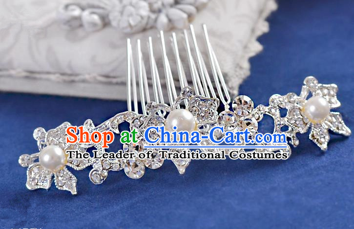 Top Grade Handmade Chinese Classical Hair Accessories Princess Wedding Crystal Butterfly Pearl Hair Comb Hair Stick Headband Bride Headwear for Women