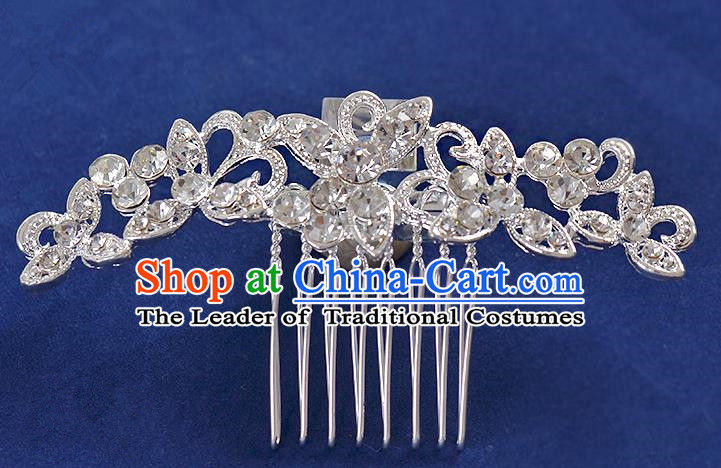 Top Grade Handmade Chinese Classical Hair Accessories Princess Wedding Crystal Butterfly Hair Comb Hair Stick Headband Bride Headwear for Women