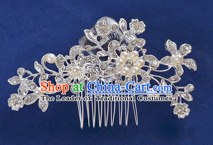 Top Grade Handmade Chinese Classical Hair Accessories Princess Wedding Crystal Flowers Hair Comb Hair Stick Headband Bride Headwear for Women