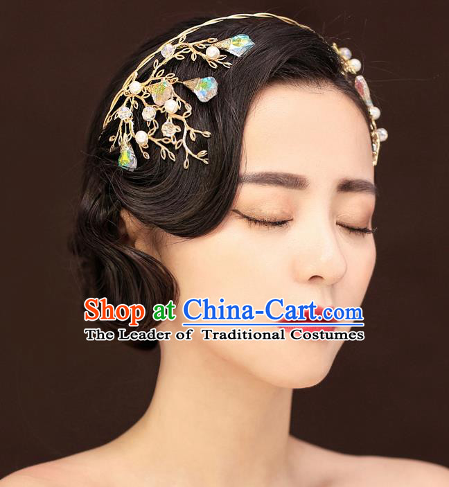 Top Grade Handmade Chinese Classical Hair Accessories Princess Wedding Crystal Hair Clasp Hair Stick Headband Bride Headwear for Women