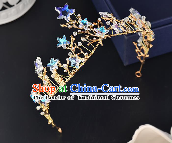 Top Grade Handmade Hair Accessories Baroque Style Wedding Crystal Star Royal Crown, Bride Princess Hair Kether Jewellery Imperial Crown for Women