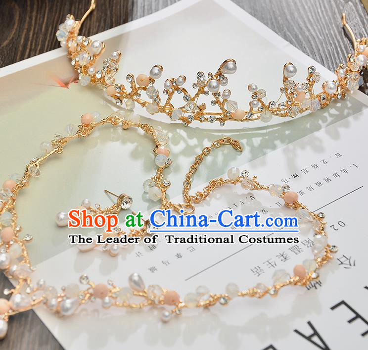 Top Grade Handmade Chinese Classical Jewelry Accessories Princess Wedding Pearls Royal Crown Earrings and Necklace Bride Eardrop for Women