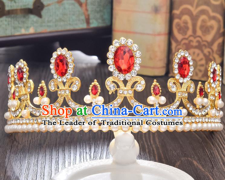 Top Grade Handmade Hair Accessories Baroque Style Wedding Red Crystal Royal Crown, Bride Princess Hair Kether Jewellery Imperial Crown for Women