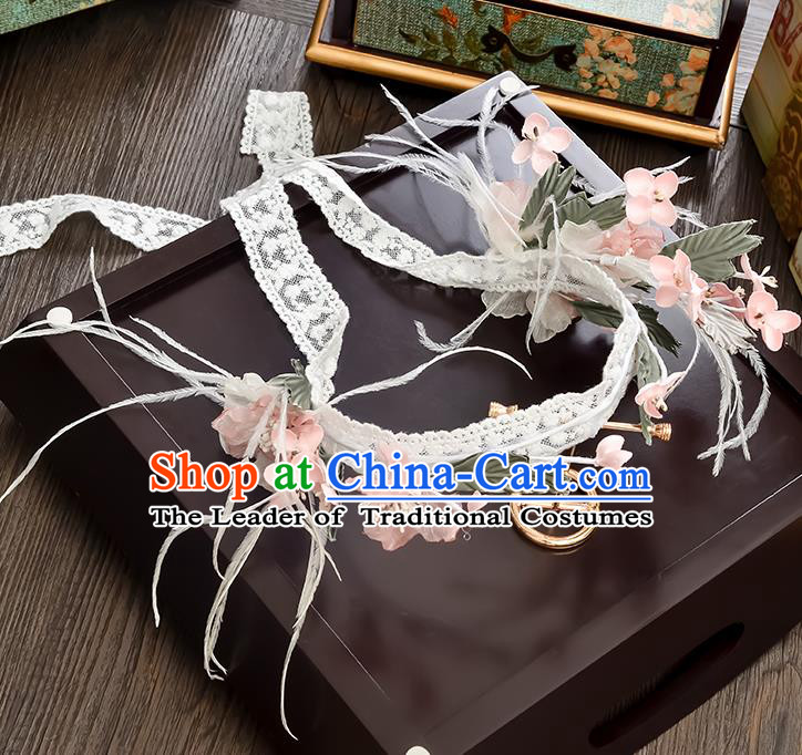 Top Grade Handmade Chinese Classical Hair Accessories Princess Wedding Pink Flower Lace Hair Clasp Hair Stick Headband Bride Headwear for Women