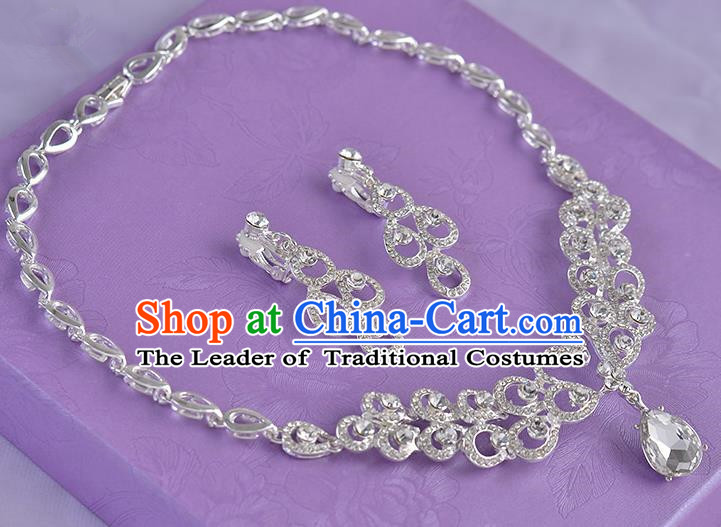 Top Grade Handmade Chinese Classical Jewelry Accessories Princess Wedding Crystal Royal Earrings and Necklace Bride Ornaments for Women