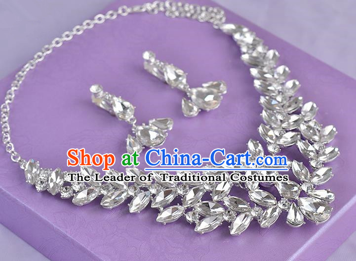 Top Grade Handmade Chinese Classical Jewelry Accessories Princess Wedding Crystal Leaf Royal Earrings and Necklace Bride Ornaments for Women