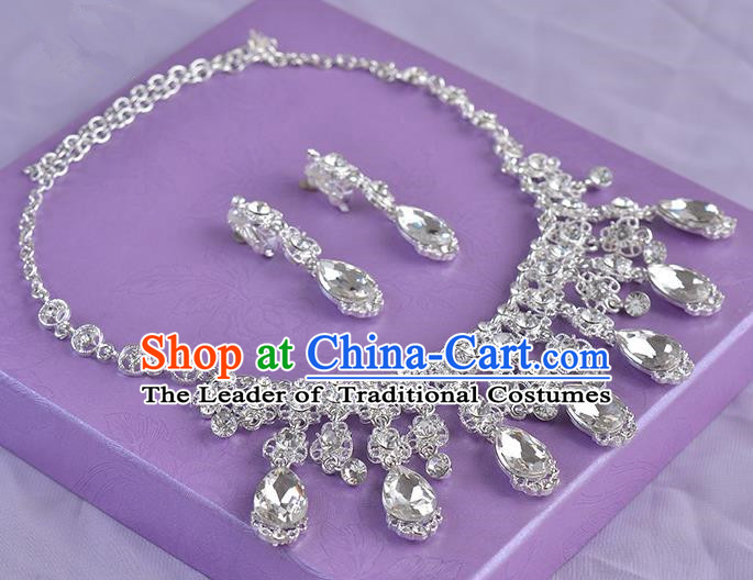 Top Grade Handmade Chinese Classical Jewelry Accessories Queen Wedding Crystal Royal Earrings and Necklace Bride Ornaments for Women