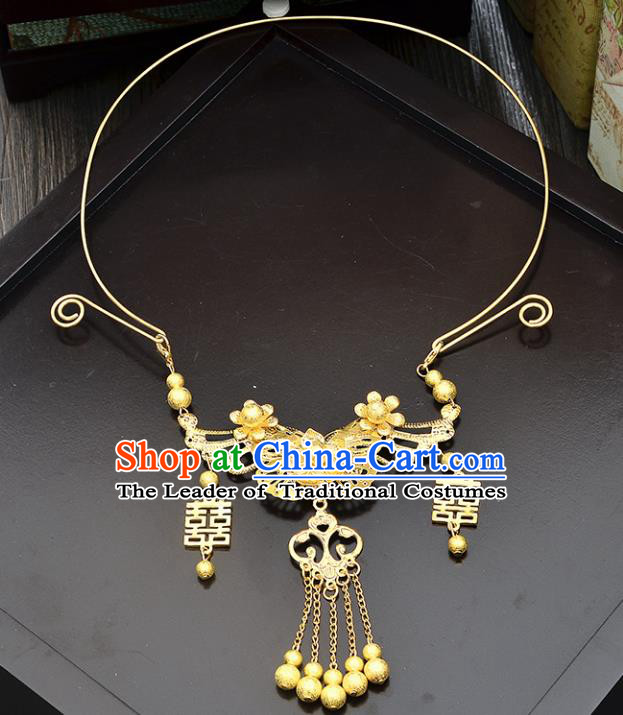 Top Grade Handmade Chinese Classical Jewelry Accessories Xiuhe Suit Wedding Golden Tassel Necklace Bride Hanfu Necklet for Women