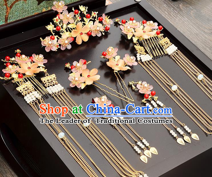 Traditional Handmade Chinese Ancient Wedding Hair Accessories Xiuhe Suit Ancient Costume Crystal Flowers Phoenix Hairpins Complete Set, Bride Step Shake Hanfu Hair Sticks Hair Fascinators for Women