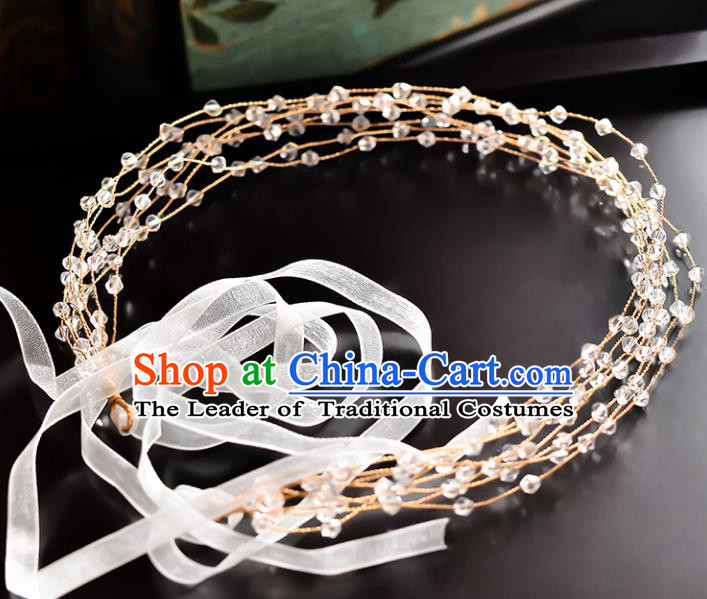 Top Grade Handmade Chinese Classical Hair Accessories Princess Wedding Crystal Beads Hair Clasp Headband Bride Headwear for Women