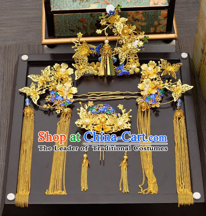 Traditional Handmade Chinese Ancient Wedding Hair Accessories Xiuhe Suit Blueing Cloisonne Butterfly Phoenix Coronet Complete Set, Bride Tassel Step Shake Hanfu Hairpins Hair Sticks Hair Jewellery for Women