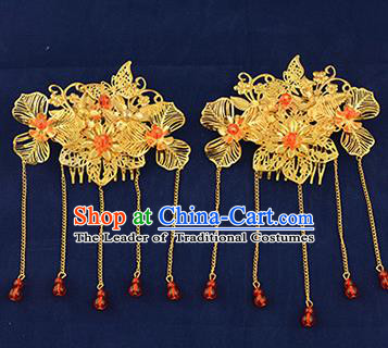 Traditional Handmade Chinese Ancient Wedding Hair Accessories Xiuhe Suit Tassel Hairpins Golden Hair Stick, Bride Step Shake Hanfu Hair Fascinators for Women