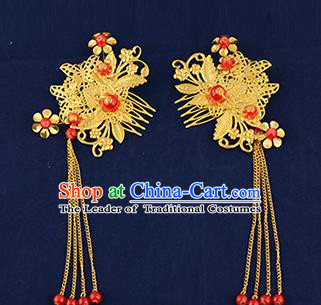 Traditional Handmade Chinese Ancient Wedding Hair Accessories Xiuhe Suit Tassel Hairpins Golden Hair Comb, Bride Step Shake Hanfu Hair Fascinators for Women