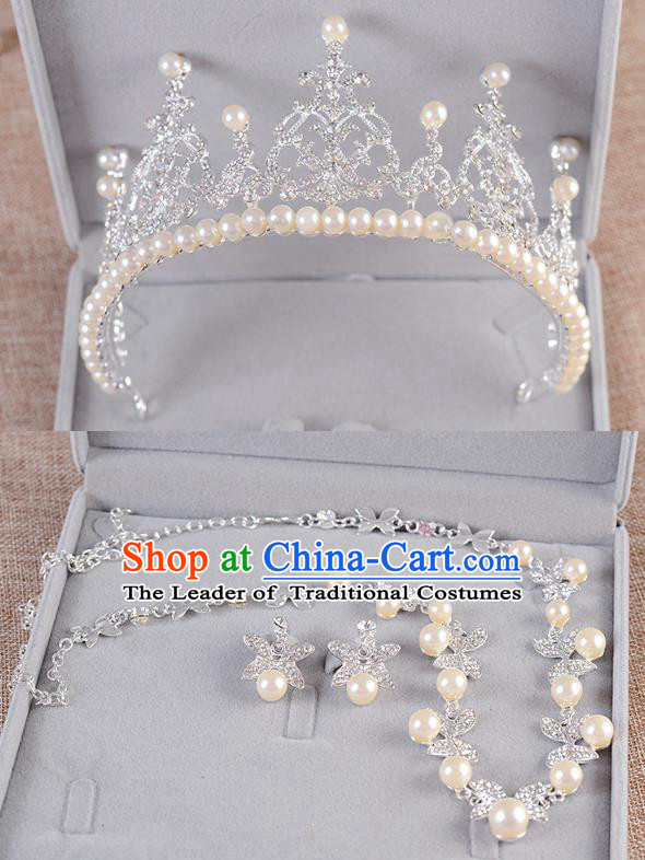 Top Grade Handmade Chinese Classical Jewelry Accessories Queen Wedding Crystal Pearls Royal Crown Earrings and Necklace Bride Ornaments for Women