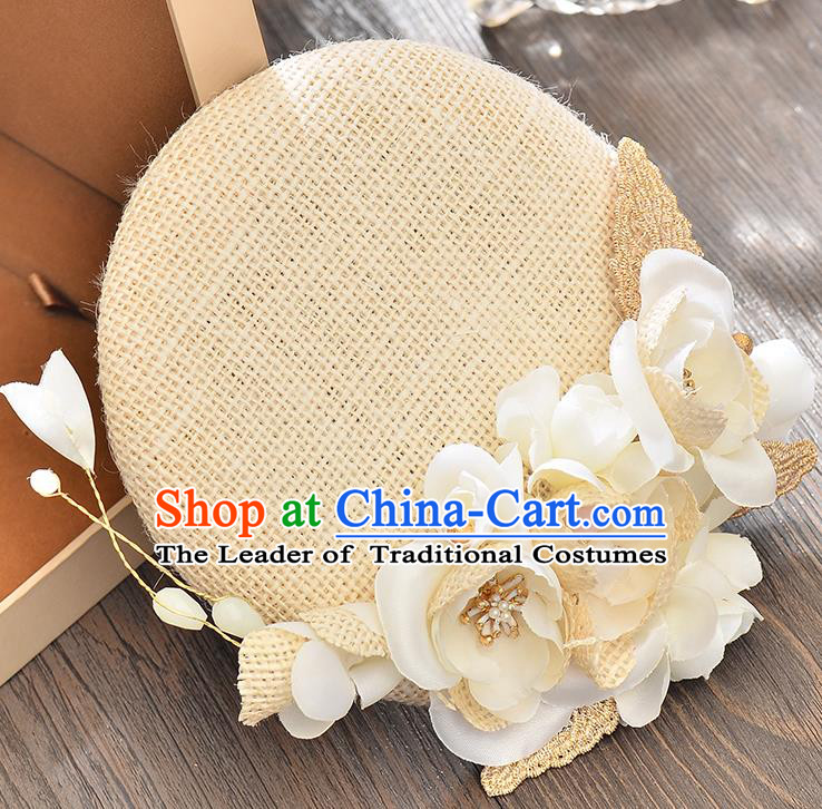 Top Grade Handmade Chinese Classical Hair Accessories Princess Wedding Beige Flower Hat Top Hat Bride Headwear for Women