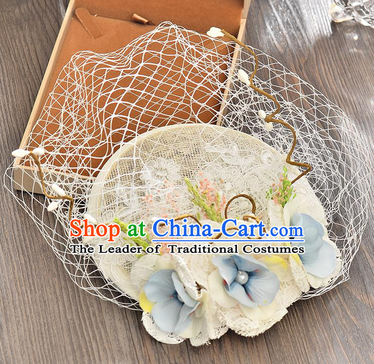 Top Grade Handmade Chinese Classical Hair Accessories Princess Wedding Blue Flower Veil Hat Top Hat Bride Headwear for Women