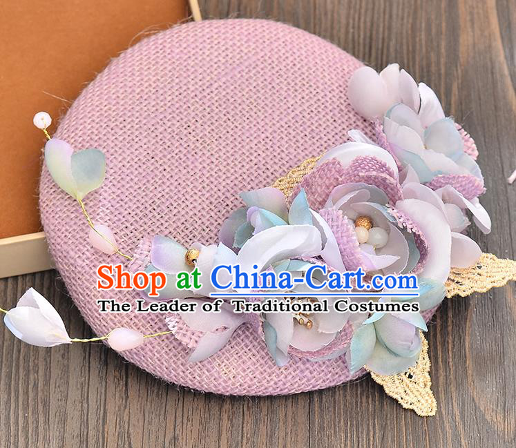 Top Grade Handmade Chinese Classical Hair Accessories Princess Wedding Purple Flower Hat Top Hat Bride Headwear for Women