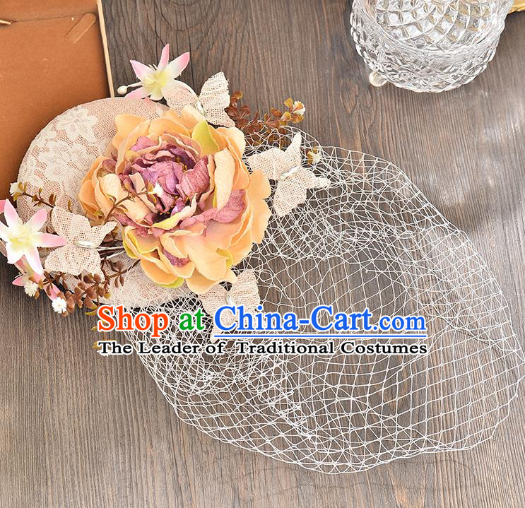 Top Grade Handmade Chinese Classical Hair Accessories Princess Wedding Pink Flower Veil Hat Top Hat Bride Headwear for Women