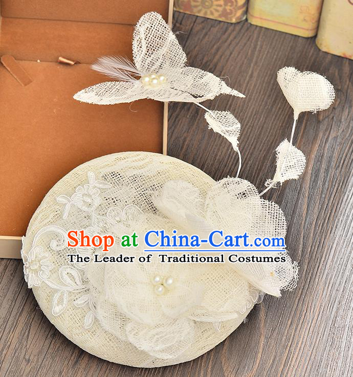 Top Grade Handmade Chinese Classical Hair Accessories Princess Wedding Lace Butterfly Flower Hat Top Hat Bride Headwear for Women