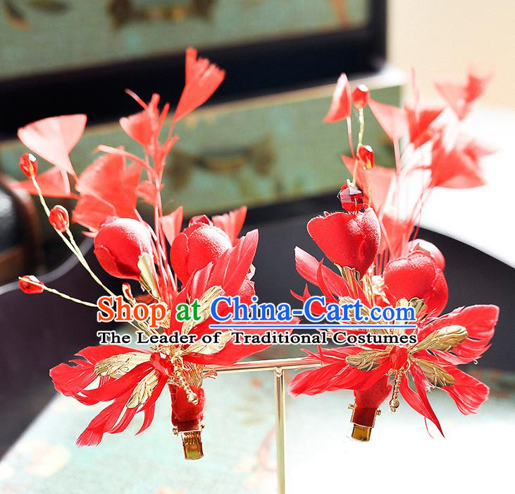 Top Grade Handmade Chinese Classical Hair Accessories Princess Wedding Red Feather Hair Claw Hair Stick Bride Headwear for Women