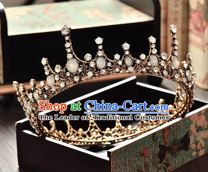 Top Grade Handmade Hair Accessories Baroque Style Palace Princess Wedding Crystal Opal Vintage Round Royal Crown, Bride Hair Kether Jewellery Imperial Crown for Women